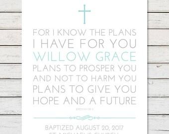 BAPTISM PRINTABLE, Baptism Gift, Girl Baptism Gift, Boy Baptism Gift, Baptism Prayer, Baptism Blessing, Christening Gift, Dedication Gift