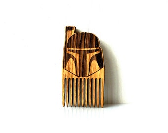 Boba Fett Beard Comb Star Wars Shaped Wooden Mustache Comb Gift idea Men For Him Fathers Day Gift Gift for Him Husband Gift Friend Gift