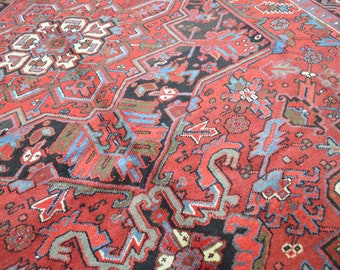 7'3 x 9'9 Professionally CLEANED Spectacular Genuine Semi Antique Vintage Persian Heriz Serapi Hand Knotted Handmade Wool Area Rug Carpet