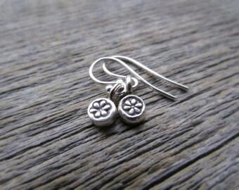 Silver Flower Earrings, Hill Tribe Silver Earrings, Flower Dangle Earring, Drop Earring, Flower Jewelry, Flower Charm Earring, Teen Earrings