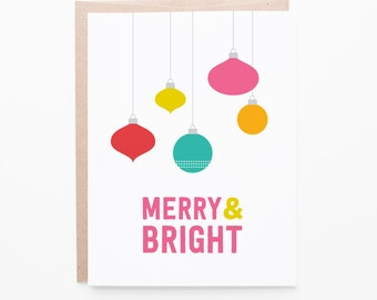 Merry Ornaments Christmas Card | Seasons Greetings | Holiday Cheer | Single Card or Box Set