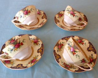 1920s Crown Ducal Teacups and Saucers