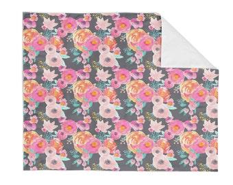 Crib Blanket Indie Bloom Grey - Baby Blanket - Minky Blanket - Floral Blanket - Floral Baby Blanket - Girl Blanket - Floral Bedding