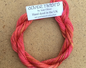 Silk Chainette No.13 Sunset, Hand Dyed Embroidery Thread, Artisan Thread, Textile Art, No.13 Sunset