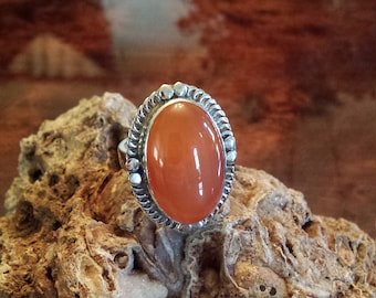 Sterling silver large carnelian ring