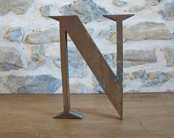 Large metal letter N - French store sign letter N - vintage marquee letter