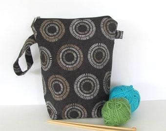 Tall Knitting bag, Socks knitting bag, crochet project bag gift for knitters, cosmetics bag,