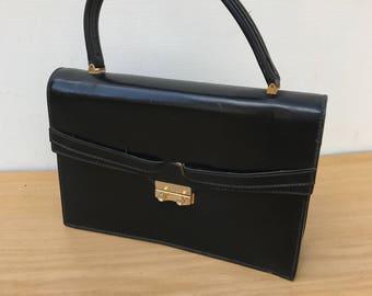 Vintage black leather hand bag + Vintage gold tone Metal clasps