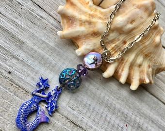 Blue Patina Mermaid Chain Necklace, Mermaid Pendant Necklace, Mermaid Necklace, Mermaid Jewelry, Bead & Chain Necklace, Beachy Boho Necklace