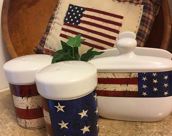 Flag Napkin Holder, Salt & Pepper by Warren Kimble 1997, Americana 4th of July