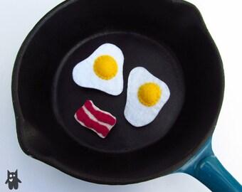 Hand Sewn Felt Fried Egg Brooch