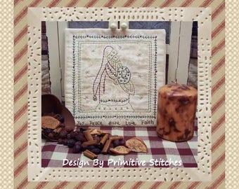 Old World Santa Candle Mat by Primitive Stitches-Primitive Stitchery E-Pattern-Instant Download