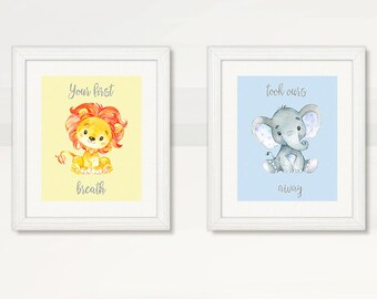 LION & ELEPHANT Baby Boy Wall Art, Baby BOY Safarai Jungle animals Wall Art, Baby Shower gift, Baby Boy Wall Art, Digital Instant Download
