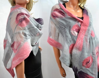 Nuno felted Silk Shawl, Silk scarf, Silk scarves, for weeding, party, evening, Unique clothing