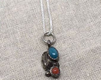 Pretty vintage turquoise and coral leaf pendant necklace sterling silver