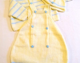 Three piece Baby outfit. Hand knitted Cardigan, Rompers and Hat. 12-24months