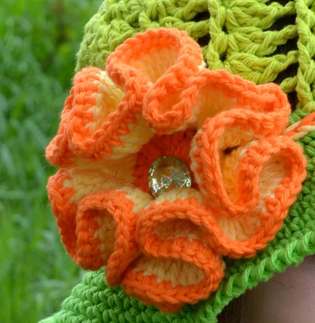 Flower Crochet Pattern Big Flower with Diamond Center