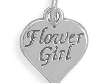 Wedding Charms, Flower Girl Charm, Sterling Silver Heart Charm with Flower Girl Imprinted