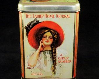 LADIES HOME JOURNAL Tin / Replica 1909 A Girls' Number Cookie Tin - Collectible / Vintage Home Decor / Kitchen Storage / Magazine Advert.
