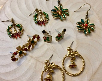 Destash Lot - 5 Sets of Christmas Earrings - Gold Tone