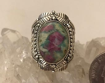 Ruby in Fuchsite Party Ring Size 8