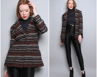 Vintage Tribal Striped Jacket / Medium