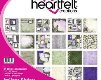 Heartfelt Creations Italian Riviera Collection Paper Pad - Vineyard paper - 12x12 - Green and Purple paper - Card stock paper - 9-236