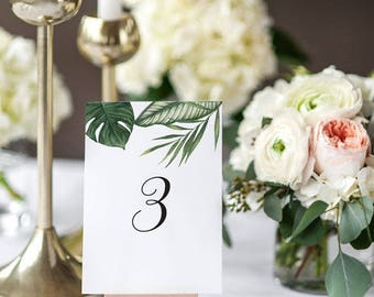 Printable Table Number Cards - Modern Tropical Foliage Wedding Table Numbers Printable - Reception Cards- Number 1 to 20 - (Item code: P406)