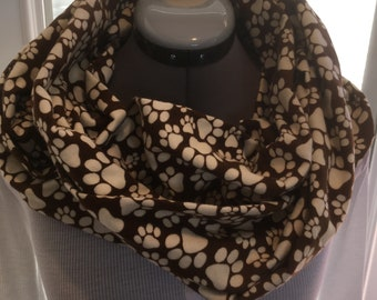 Brown Paw Print Double Infinity Scarf