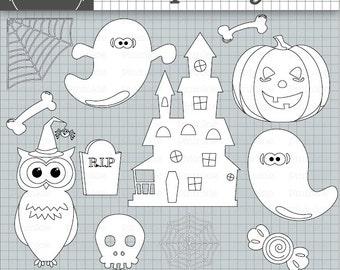 Halloween Digital Stamps, Halloween Digi Stamps, Owl Digital Stamp, Owl Digistamp, Commercial Use, Ghosts, Pumpkin, Instant Dow