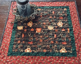 Tea Themed Quilted Table Topper, Brown Green Orange Table Topper, Tea Cups and Tea Kettles Table Runner Quilt, Quilted Table Topper