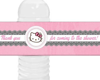 Hello Kitty Water Bottle Labels, Hello Kitty party favors, Hello Kitty birthday party.