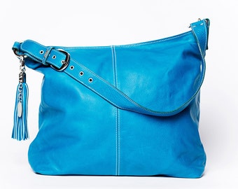 HandBag shoulder strap Classic/ with a adjustable strap/ full grain leather/ extra large size/  turquoise # 49