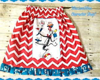 Girl's Cat and the Hat skirt authorized Robert Kaufman fabric 2T 3T 4T 4/5 6/6X 7/8 10/12 14/16 S M L XL 2X 3X