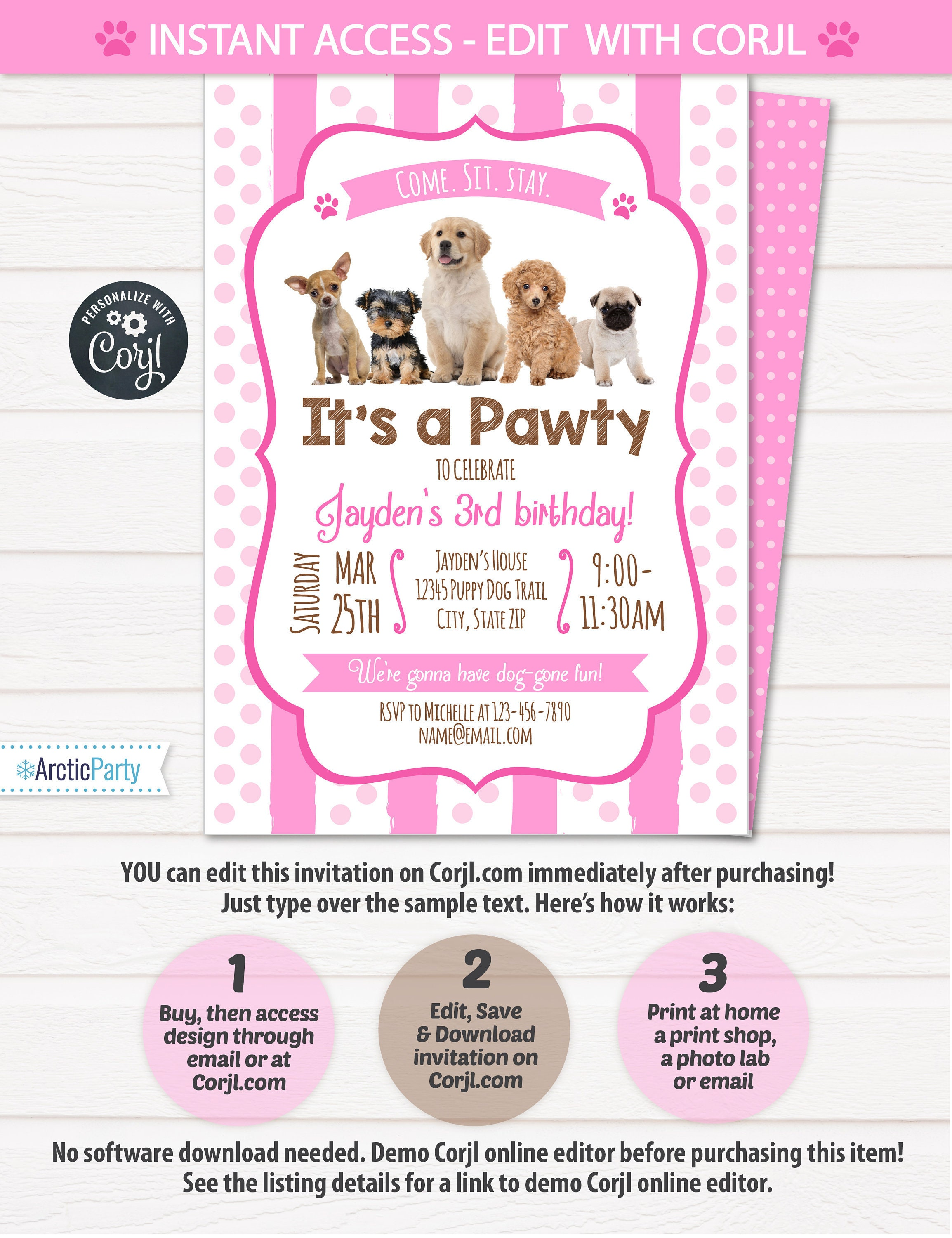 Puppy birthday invitation dog birthday party invitations puppy puppy birthday invitation dog birthday party invitations puppy birthday invitations dog themed party instant access edit now filmwisefo