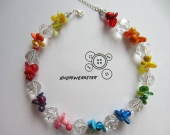 Chain, button chain, chain with beads and buttons, knobs, wire chain, statement string, Rainbow, necklace, chain