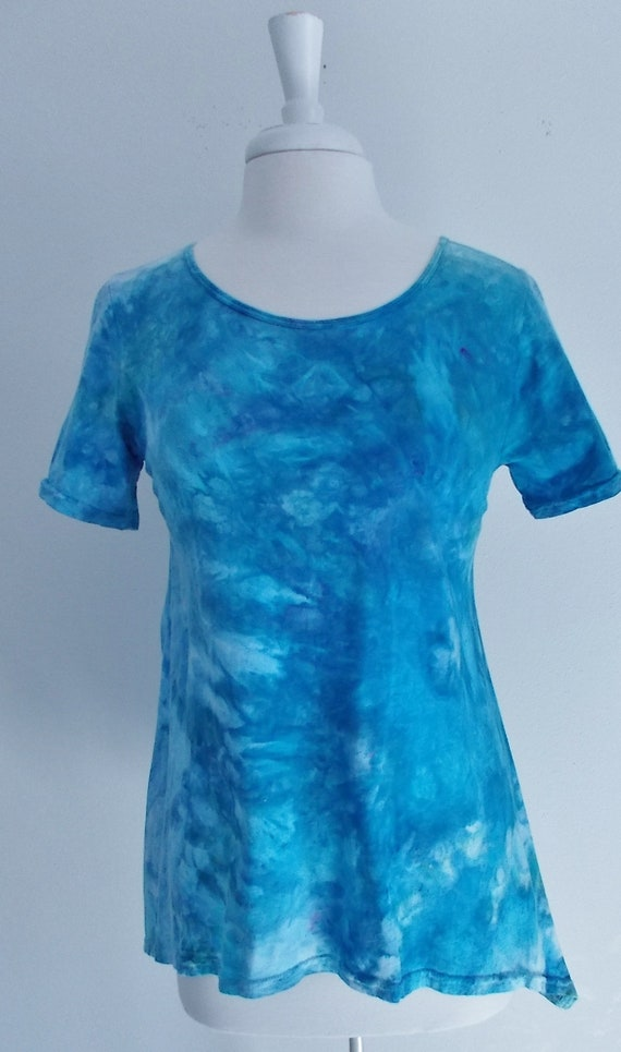 Women's Small Short Sleeve Hanky-hem Ice dye tie dye Cotton Tunic