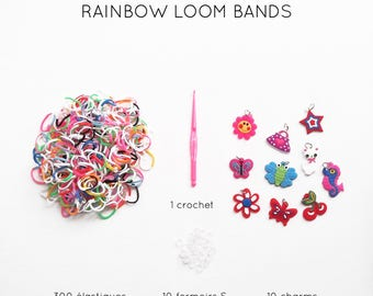 Kit 300 two-tone ties + charms + 10 S clasps 10 + crochet loom bands