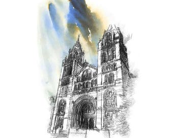 Natural history museum | Limited edition fine art print from original drawing. Free shipping.