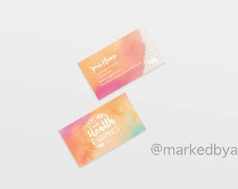 DIGITAL FILE ONLY - Business Card Horizontal - Let's Make Health & Happiness Happen (Rainbow Watercolor)