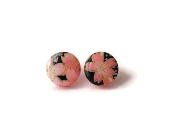 Japanese paper earrings, Paper earrings, Japanese stud earrings, Sakura earrings,Cherry blossom earrings,Round stud earrings,Flower earrings