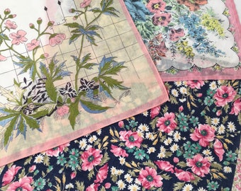 3 lovely Vintage Printed Hankies