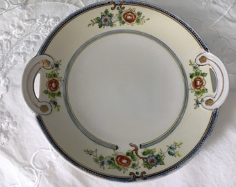 Vintage Plate, Floral Plate, Noritake, Hand Painted Plate, Decorative Plate, Gold Trim Handles,