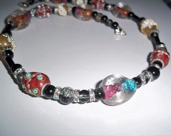 Colorful Glass and Ceramic Lampwork Bead Necklace