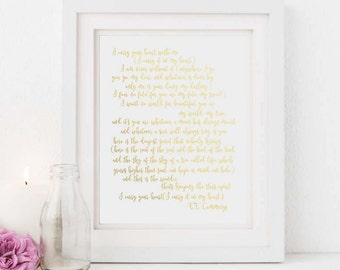 I carry your heart - Gold - Poem - Instant download - Printable - Anniversary gift - Wedding - Baby - Nursery decor - Diy wall art