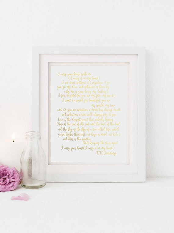 I carry your heart Gold Poem Instant download