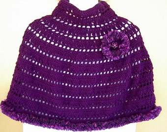 Purple Crochet Capelet Evening  Prom Wrap Poncho with Sparkle Purple Ruffle Ribbon Edge