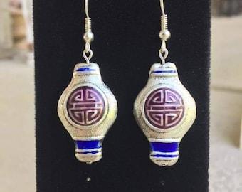 Vintage Chinese Lantern Earrings, Asian, Chinese Jewelry, Vintage, Medallion, Charm Earrings,