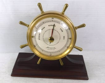 Vintage 1960s Airguide Brass Ships Wheel Desktop Barometer Made in U.S.A.