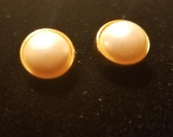 Pearl Stud Earrings- Gold Tone